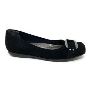 Trotters Sizzle Signature Black Suede flats NARROW